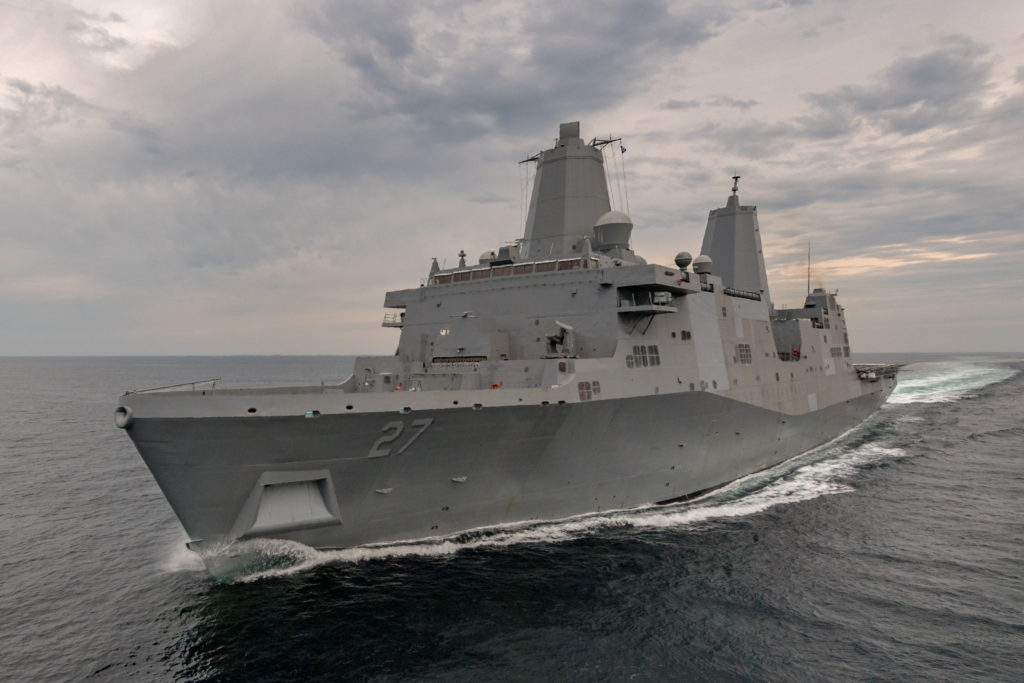 The amphibious transport dock USS Portland (LPD-27) has completed her first set of sea trials. The test and trials team at Ingalls Shipbuilding spent four days in the Gulf of Mexico operating the 11th San Antonio-class ship and demonstrating its systems (Photo by Lance Davis/HII)