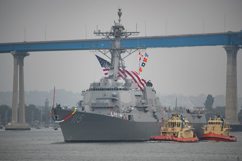 Future USS Rafael Peralta (DDG-115) arrives at her homeport for the first time in anticipation of commissioning scheduled for July 29. The 65th ship of its class, Peralta is classified as a Flight IIA Arleigh Burke-class guided missile destroyer and is named for Marine Sgt. Rafael Peralta (U.S. Navy photo by Mass Communication Specialist 2nd Class Phil Ladouceur/Released)