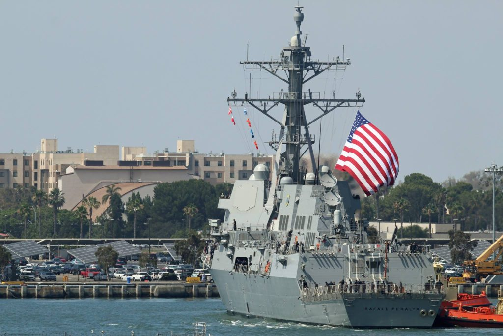 USS Rafael Peralta (DDG-115) completed her birth shift to Naval Air Station North Island