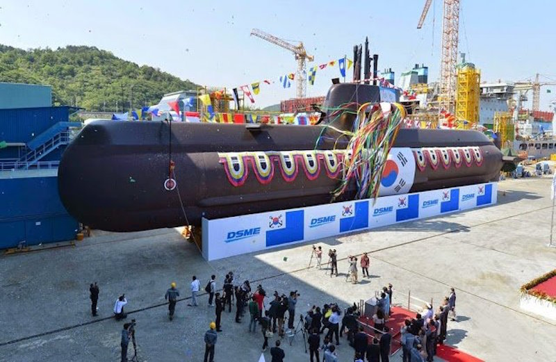 Launch of the South Korean navy's Yu Gwan-sun at the Daewoo shipyard on Geoje Island; she is Korea's sixth Type 214 diesel-electric submarine SSK (DAPA photo)
