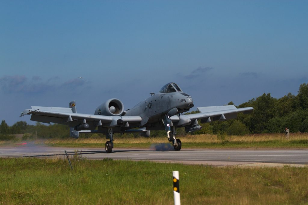 A US Army A-10 Thunderbolt II «Warthog» belonging to the 175th Wing, Maryland Air National Guard, lands on a stretch of highway during an exercise near Jagala, Estonia on August 10, 2017. The exercise was a chance for the public to see NATO forces working together as a part of Operation Atlantic Resolve, which is a NATO mission involving the US and Europe in a combined effort to strengthen bonds of friendship and to promote peace (Photo taken by Private first class Nicholas Vidro, 7th Mobile Public Affairs Detachment)