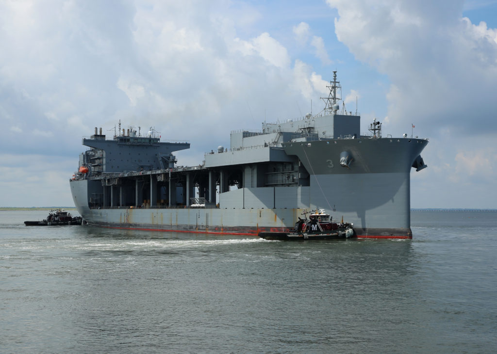 The Military Sealift Command expeditionary mobile base USNS Lewis B. Puller (T-ESB-3) departs Naval Station Norfolk to begin its first operational deployment. Puller is deploying to the U.S. 5th Fleet area of operations in support of U.S. Navy and allied military efforts in the region (U.S. Navy photo by Bill Mesta/Released)