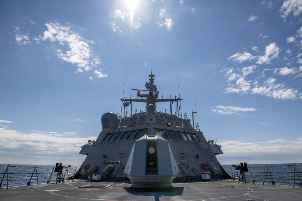 LCS-9, the future USS Little Rock, underway on Lake Michigan during Builder's Sea Trials on August 12. LCS-9 is scheduled to be delivered to the U.S. Navy later this year following Acceptance Trials
