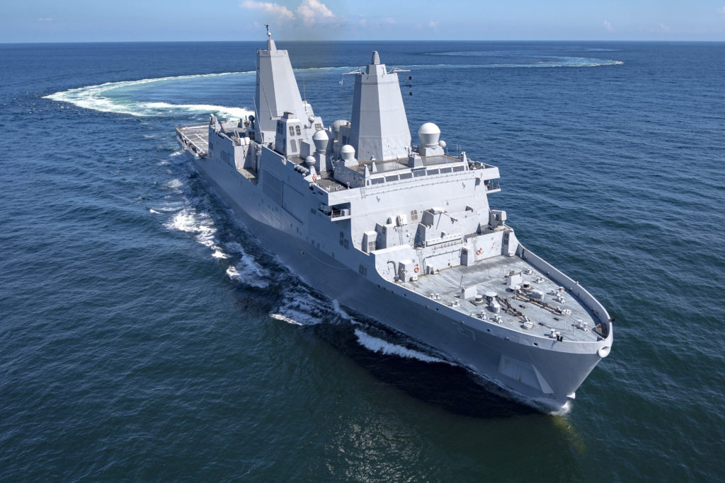 USS Portland (LPD-27), sails through the Gulf of Mexico during her acceptance sea trials (Photo by Lance Davis/HII)