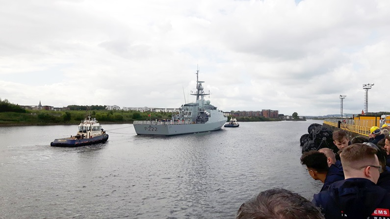HMS Forth (P222), the first of the Royal Navy's second batch of Offshore Patrol Vessels, sails down the Clyde towards the open sea for the first time (RN photo)