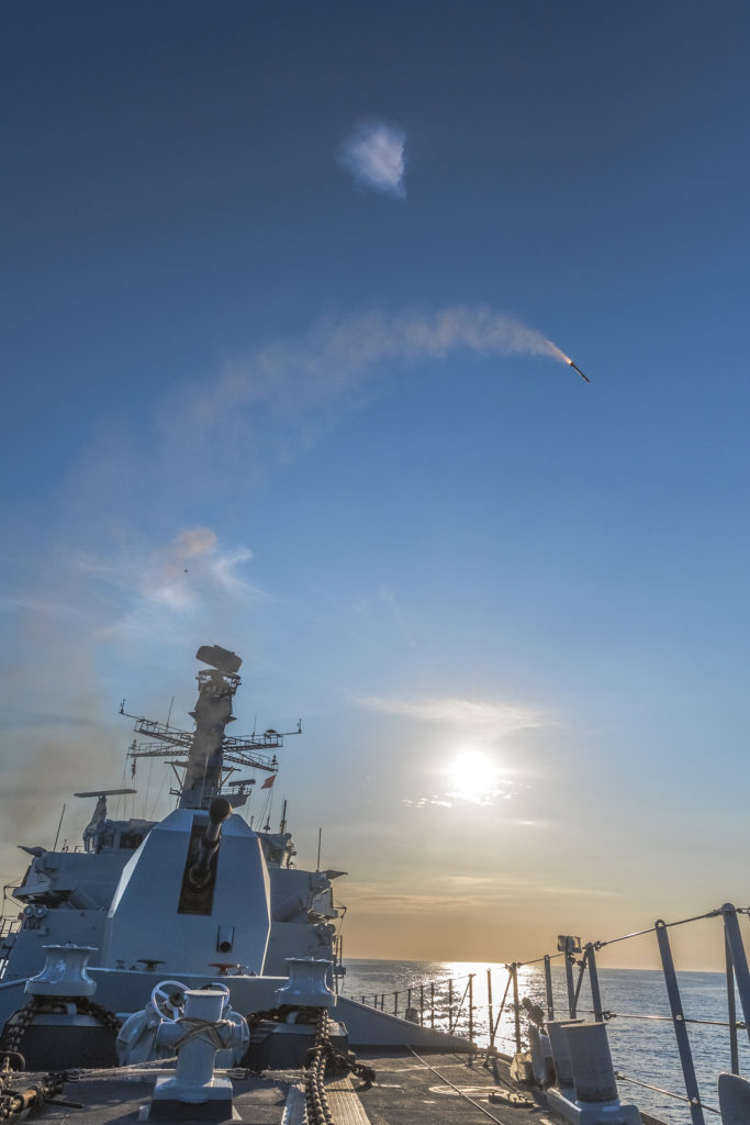 Sea Ceptor firing from the HMS Argyll