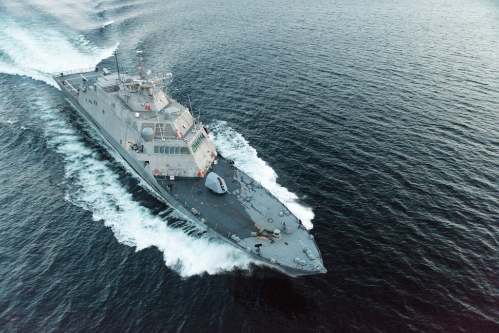 The future USS Little Rock (LCS-9) underway during a high-speed run in Lake Michigan during Acceptance Trials. Lockheed Martin and Fincantieri Marinette Marine successfully completed acceptance trials on the future USS Little Rock (LCS-9), August 25 (Photo by Lockheed Martin)