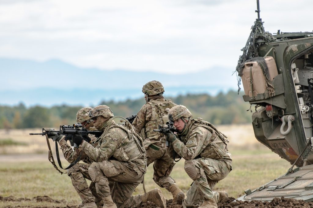 2nd Cavalry Regiment Soldiers demonstrate dismount tactics at Exercise Slovak Shield 2016, October 13, 2016, at Military Training Area Lest, Slovak Republic. U.S. Soldiers participated in Slovak Shield as a part of Operation Atlantic Resolve (Photo Credit: U.S. Army photo by Staff Sergeant Micah VanDyke)