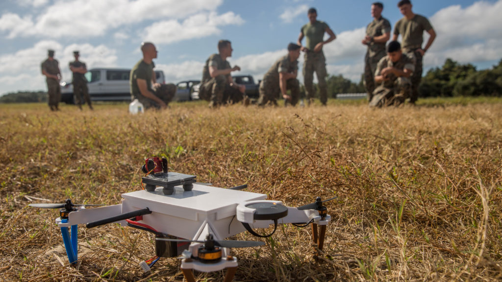 Marines prepare to test a small unmanned aerial system at Camp Lejeune, North Carolina, September 27, 2017. Technicians from the United States Army Research Lab demonstrated to the Marines how easy the system is to create and have it fully operational with little to no training (U.S. Marine Corps photo by Taylor W. Cooper)