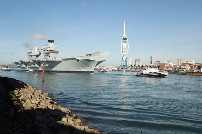 HMS Queen Elizabeth has sailed from Portsmouth Naval Base for the first time since arriving at her home port in August