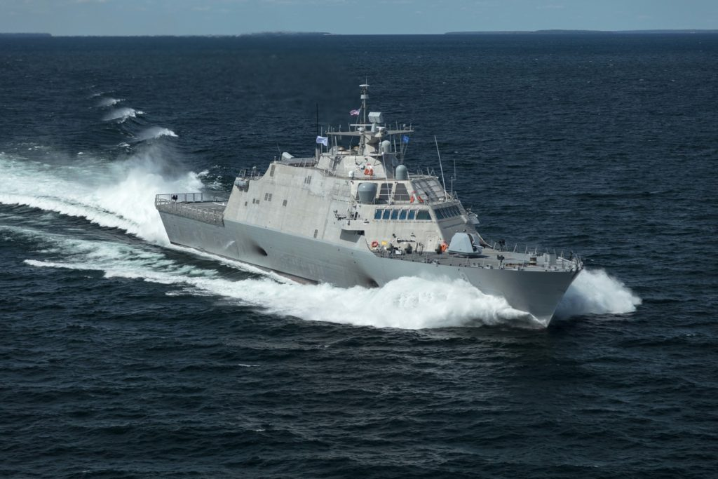 The future USS Little Rock (LCS-9), the fifth Freedom-variant LCS delivered to the U.S. Navy, underway during Acceptance Trials in Lake Michigan on August 25, 2017