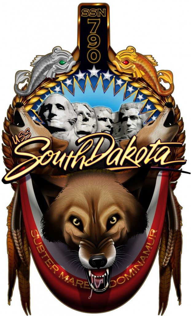 The official crest for the USS South Dakota (SSN-790) includes a wide variety of imagery representing South Dakota and its history