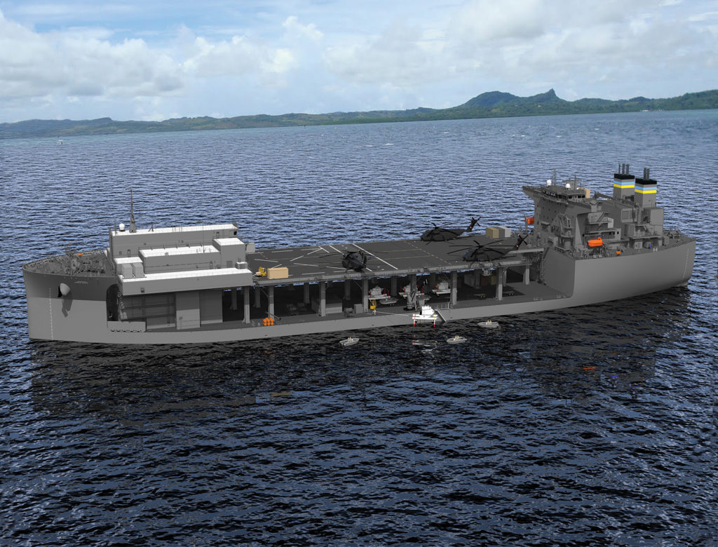 An undated artist rendering of the future expeditionary sea base USNS Hershel «Woody» Williams (T-ESB 4) (U.S. Navy photo courtesy of General Dynamics/Released)