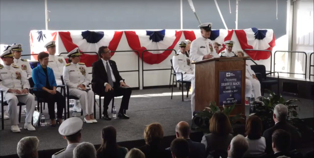 MCPON Steven S. Giordano, 14th and current master chief petty officer of the Navy, served as the principal speaker during the ceremony