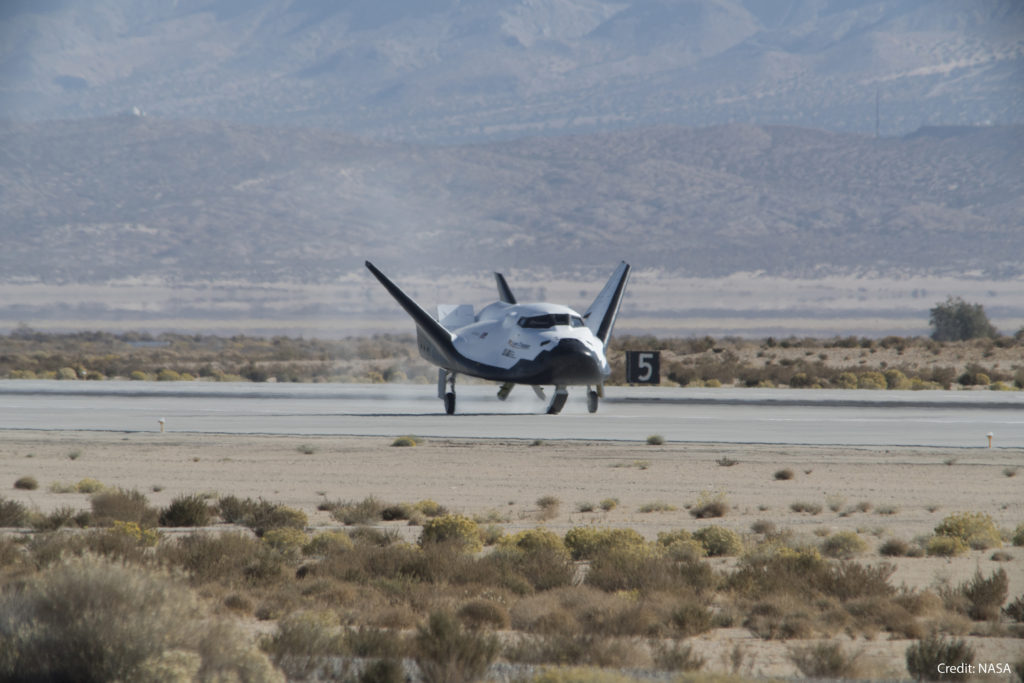The Dream Chaser landing after the Free-Flight test at Edwards AFB, CA on Saturday, November 11