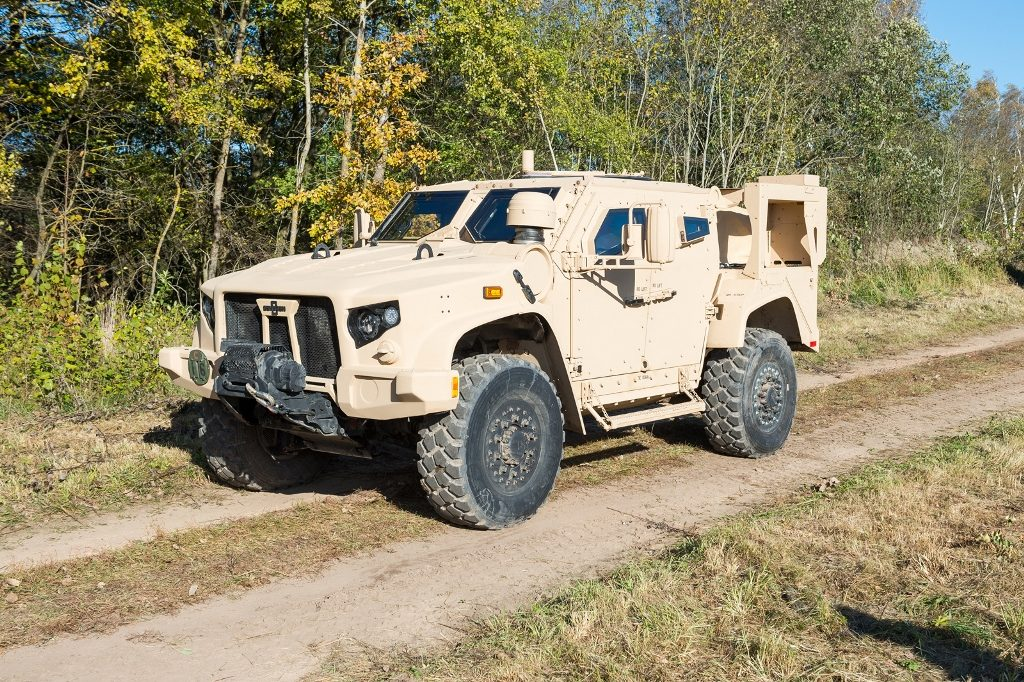Representatives of Oshkosh Defense provided a demonstration of L-ATV capacity at the Lithuanian Armed Forces Gaižiūnai Training Area for experts of the Lithuanian Armed Forces and other countries' armed forces in October 2016