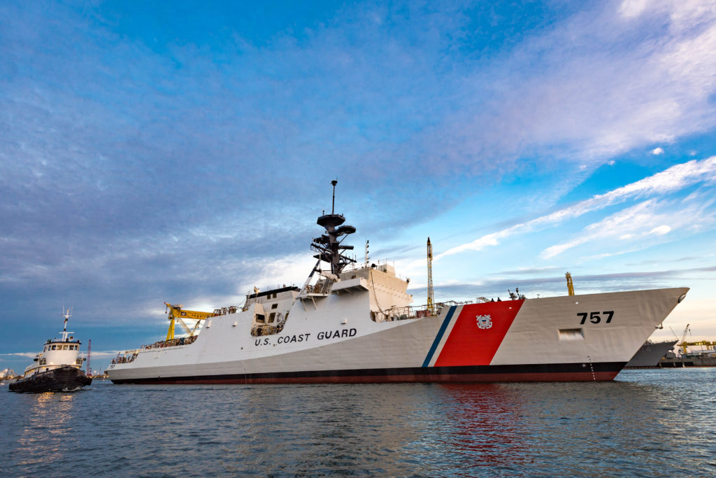 Ingalls Shipbuilding launched the National Security Cutter USCGC Midgett (WMSL-757) on November 22 (Photo by Lance Davis/HII)