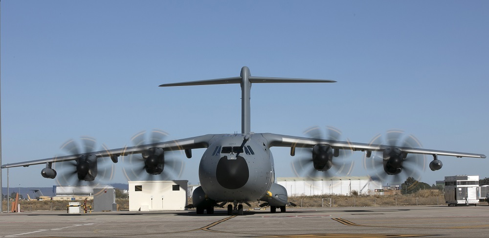 The French air force's twelfth Airbus A400M airlifter on the ramp at Sevilla shortly before its handover (DGA photo)