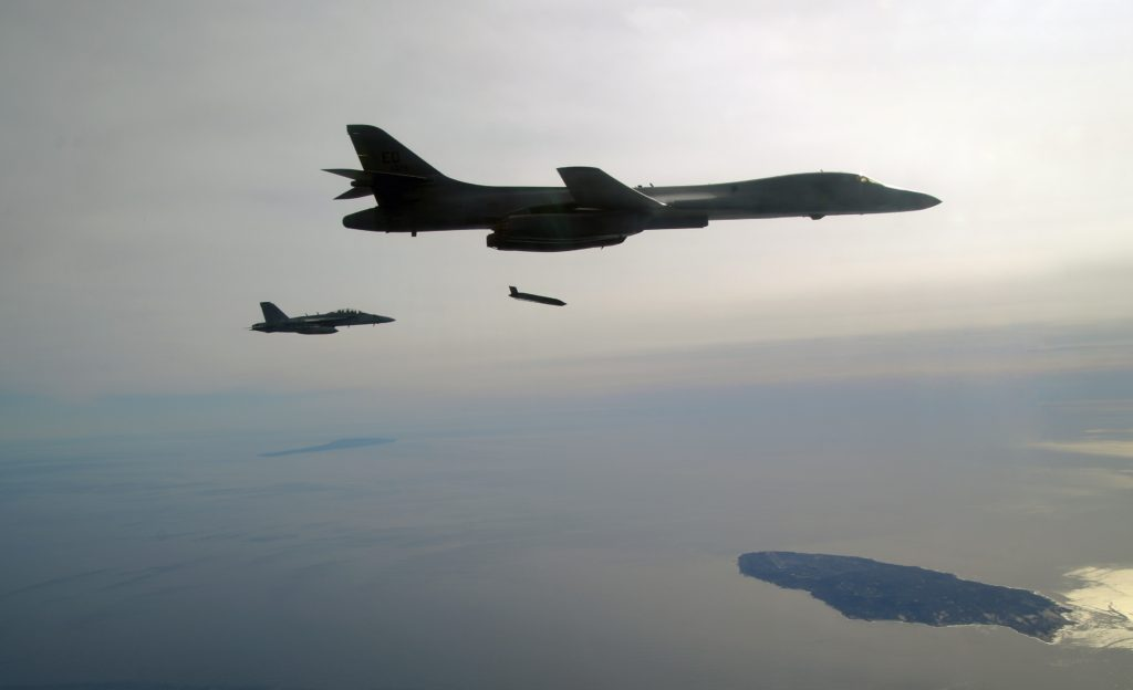 A U.S. Air Force B-1B Lancer releases the Navy's Long Range Anti-Ship Missile (LRASM) during a test event December 8 off the coast of California (U.S. Navy photo)