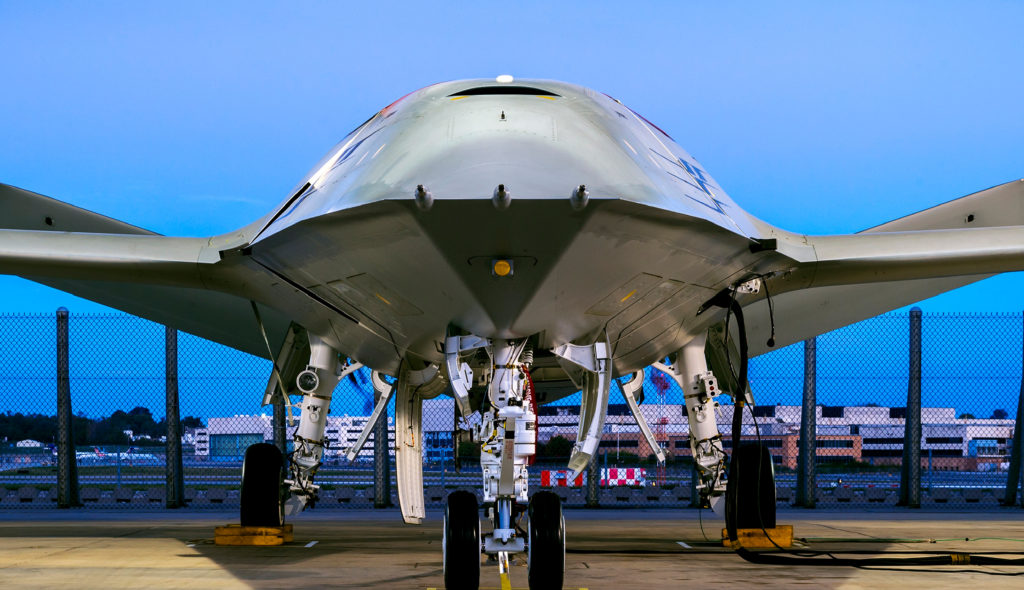 Boeing's MQ-25 Unmanned Aircraft System is completing engine runs before heading to the flight ramp for deck handling demonstrations next year. The aircraft is designed to provide the U.S. Navy with refueling capabilities that would extend the combat range of deployed Boeing F/A-18 Super Hornet, Boeing EA-18G Growler, and Lockheed Martin F-35C fighters (Boeing photo by Eric Shindelbower)