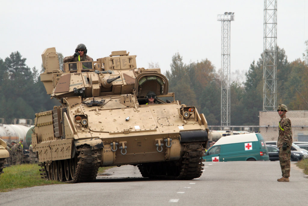 A Bradley belonging to the 1st Cavalry Division is shown here in Rukla, Lithuania during Operation Atlantic Resolve (Photo Credit: Staff Sergeant Keith Anderson)