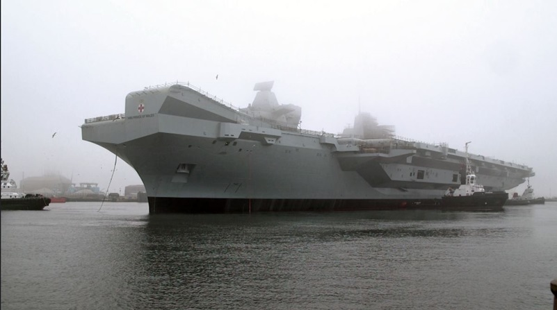 Britain's second aircraft carrier HMS Prince of Wales afloat for the first time