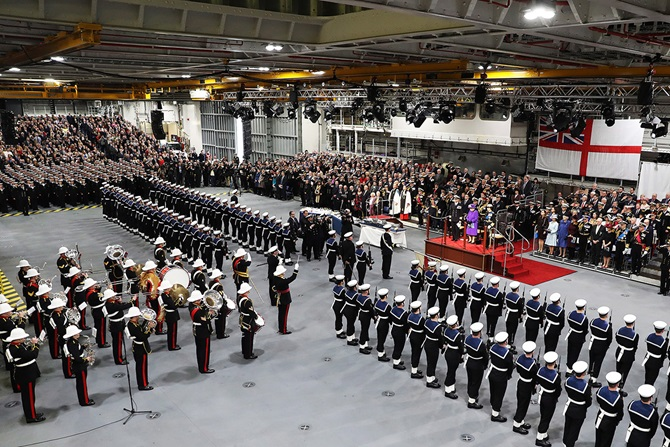Her Majesty The Queen welcomes HMS Queen Elizabeth (R08) into the Royal Navy fleet