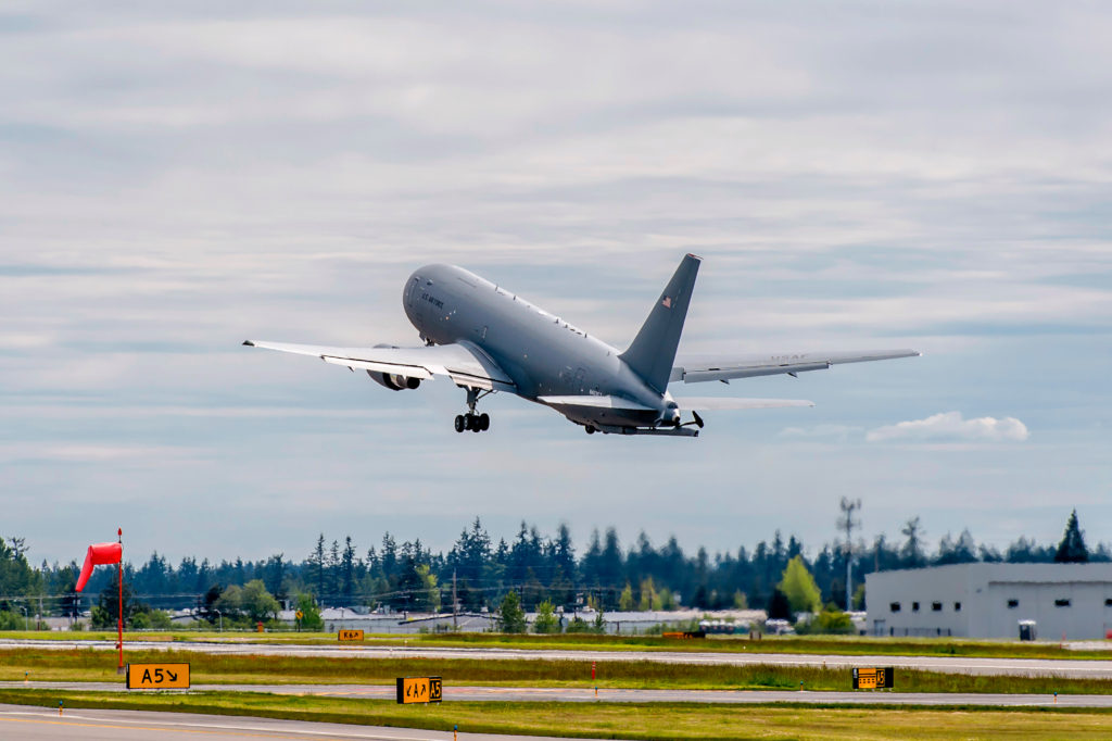 Boeing's KC-46A tanker takes off from Paine Field in Everett, Washington, where the aircraft are built. Japan is the first international customer for the multi-role tanker that will bring unmatched capabilities and reliability upon delivery (Photo by Gail Hanusa)