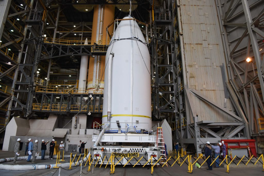 The National Reconnaissance Office's NROL-47 payload, encapsulated inside a 5-meter payload fairing, is mated to a Delta IV rocket at Vandenberg Air Force Base's Space Launch Complex-6