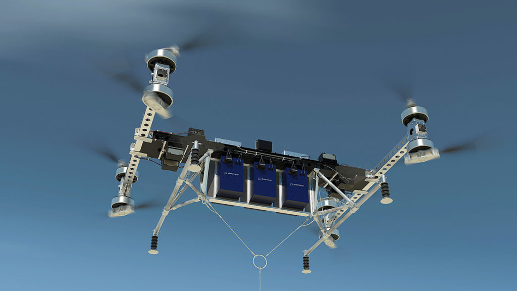 The electric vertical-takeoff-and-landing multi-copter UAV is designed to carry up to 500 pounds
