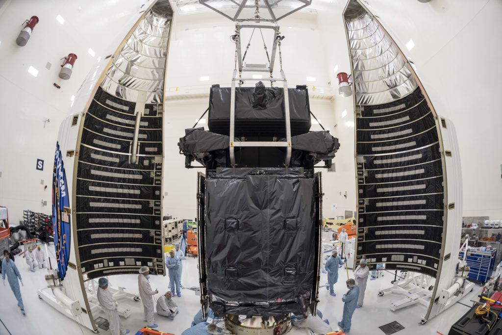 The U.S. Air Force's SBIRS GEO Flight-4 satellite, built at Lockheed Martin's Sunnyvale, California satellite manufacturing factory, was encapsulated on January 9