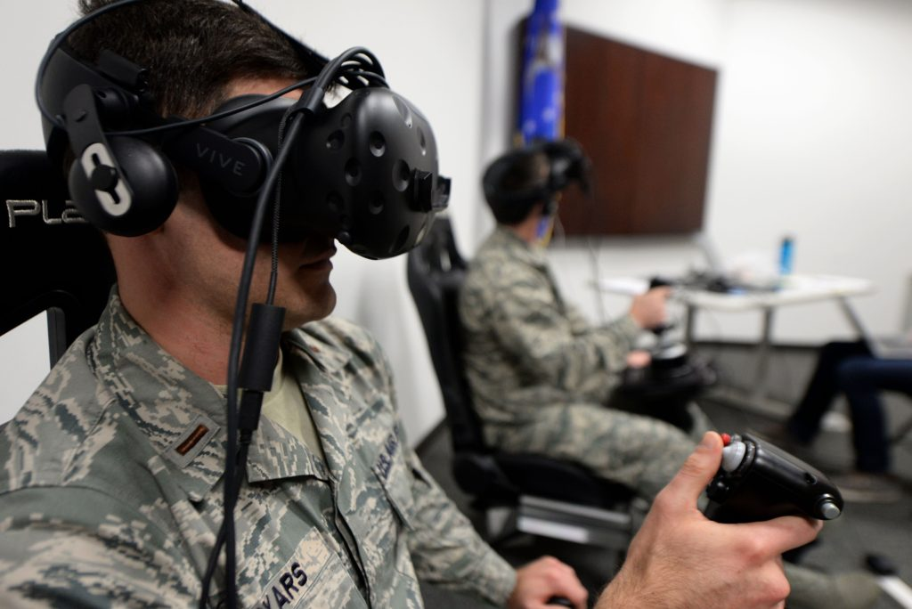 Second Lieutenant Kenneth Soyars, 14th Student Squadron student pilot, takes off during a virtual reality flight simulation January 10, 2018, at Columbus Air Force Base, Mississippi Two subjects flew at a time but no other subjects were allowed to watch or learn from other individuals' sorties. The Adaptive Flight Training Study pushed subjects to learn through the VR technology (U.S. Air Force photo by Airman 1st Class Keith Holcomb)