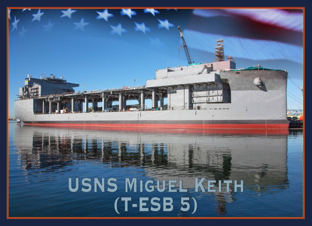 An artist rendering of the future Expeditionary Sea Base (ESB) ship, T-ESB-5 named in honor of Marine Corps Vietnam veteran and Medal of Honor recipient Miguel Keith (U.S. Navy photo illustration/Released)