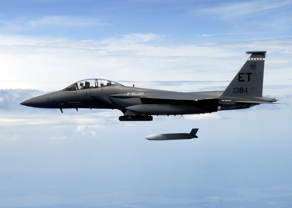 A U.S. Air Force F-15E Strike Eagle flies with a Joint Air-to-Surface Standoff Missile (JASSM). JASSM-Extended Range has more than two-and-a-half times the range of JASSM for greater standoff distance (Photo credit: U.S. Air Force)
