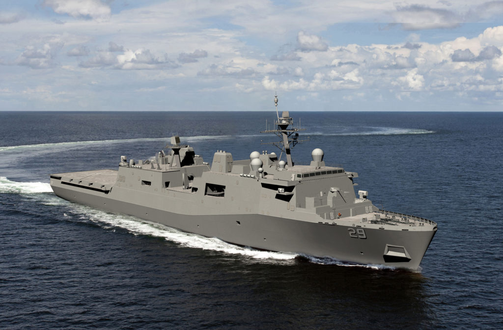 Ingalls Shipbuilding division received a $218 million contract from the U.S. Navy to provide long-lead-time material and advance construction activities for LPD-29, the 13th amphibious transport dock of the San Antonio (LPD-17) class (HII rendering)