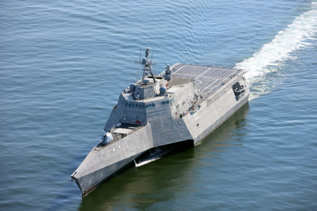 The future littoral combat ship USS Omaha (LCS-12) returns to the Austal USA shipyard after successfully conducting acceptance trials. The trials consisted of a series of graded in-port and underway demonstrations for the Navy's Board of Inspection and Survey (INSURV) (U.S. Navy photo courtesy of Austal USA/Released)