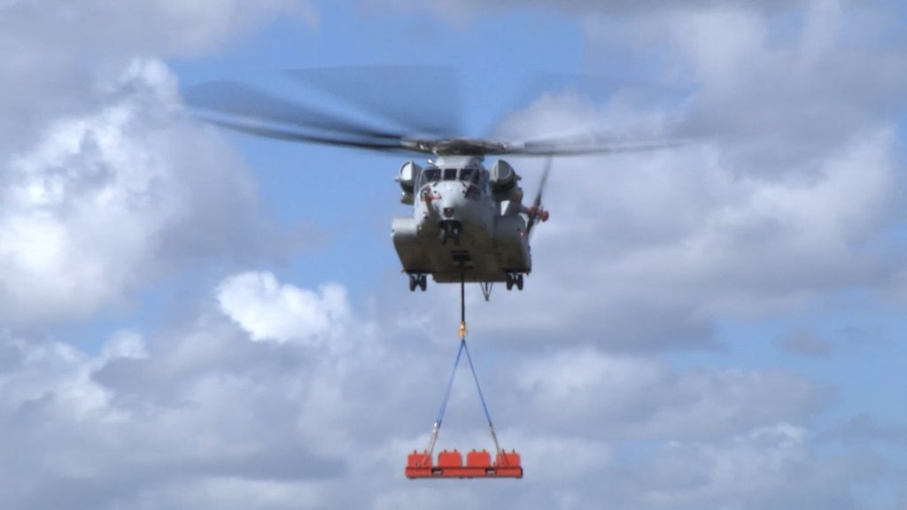 The Sikorsky CH-53K King Stallion helicopter achieves a 36,000-pound/16,330-kg lift for the first time at Sikorsky Development Flight Center in West Palm Beach, Florida, on February 10, 2018 (Image courtesy Sikorsky, a Lockheed Martin Company)