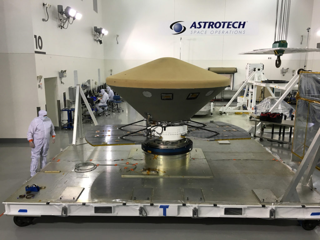 Lockheed Martin delivered NASA's InSight spacecraft to its California launch site on February 28, 2018. The Mars lander was shipped aboard a U.S. Air Force transport plane from Buckley Air Force Base, Colorado to Vandenberg Air Force Base where it will undergo final processing in preparation for a May launch