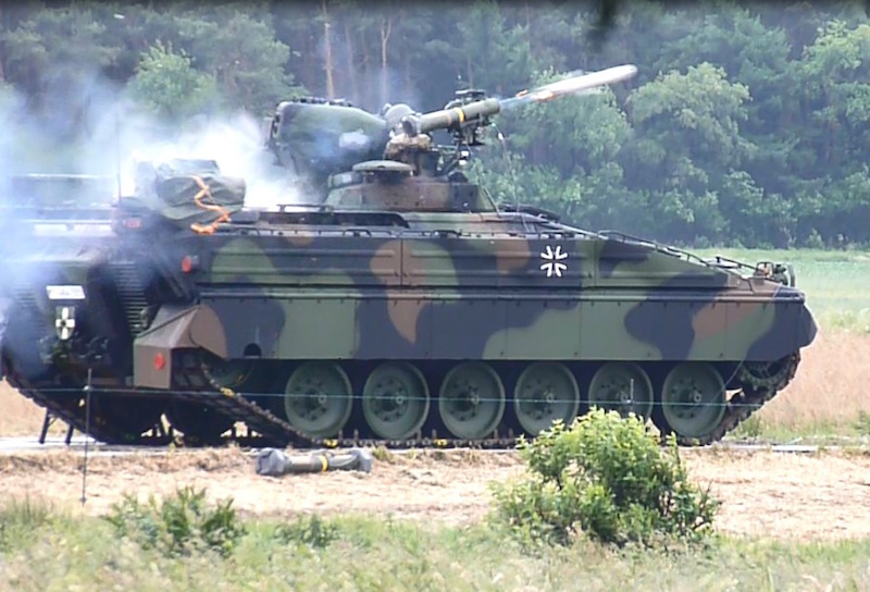 Rheinmetall carried out the proof of concept study to integrate the MELLS anti-tank missile onto the Marder infantry combat vehicle, and has now received an initial order to upgrade 44 German army Marder 1As with the missile (Rheinmetall photo)