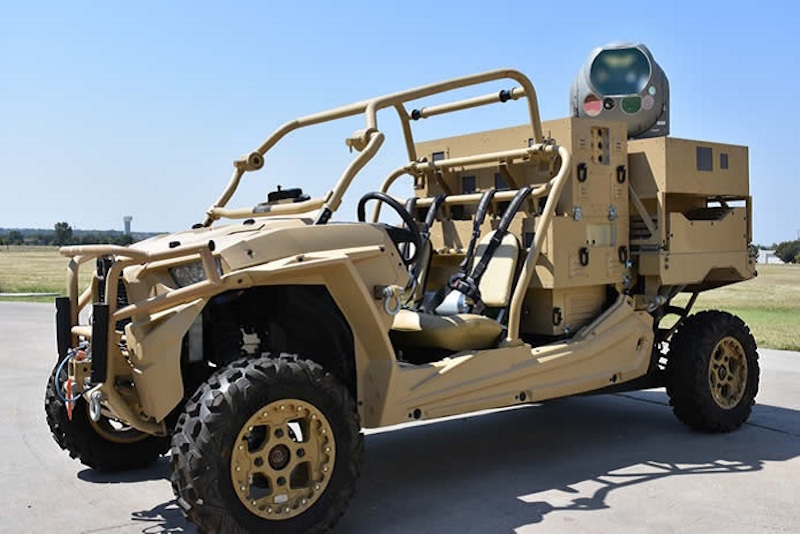 Raytheon's sophisticated MTS sensor package, combined with a high-energy laser and mounted on the MRZR vehicle, could offer an effective defense against UAVs. Earlier this year, it targeted and disabled a small UAV during tests in New Mexico (Raytheon photo)