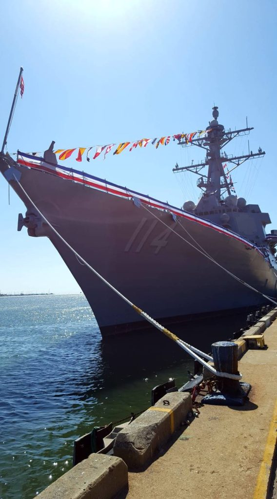 Navy commissioned new guided-missile destroyer Ralph Johnson