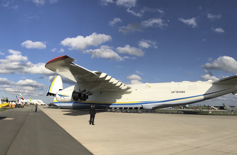 After Russia recently withdrew from its airlift support agreements with NATO, Ukraine's Antonov has offered to step in with its fleet of airlifters and has brought the world's largest aircraft to the Berlin Air Show to make its point (AC photo)