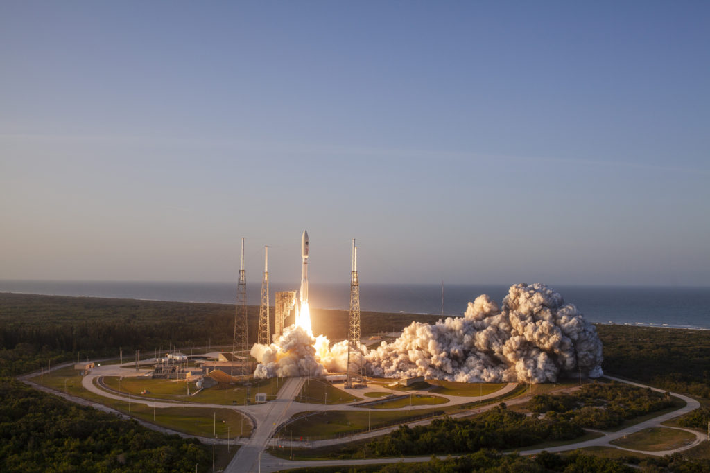 A United Launch Alliance (ULA) Atlas V rocket carrying the AFSPC-11 mission for the U.S. Air Force lifts off from Space Launch Complex-41 at Cape Canaveral Air Force Station, Florida, on April 14, 2018. AFSPC-11 is a multi-manifested mission. The forward spacecraft is referred to as CBAS (Continuous Broadcast Augmenting SATCOM) and the aft spacecraft is EAGLE (ESPA Augmented GEO Laboratory Experiment).