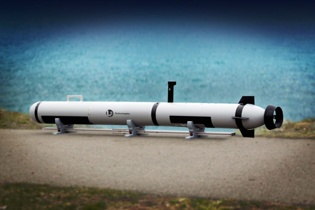 L3 Technologies' Iver Precision Workhorse autonomous undersea vehicle with low-drag side scan and bathymetry transducers (Photo courtesy of L3 Technologies)