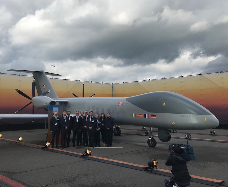 Leading aerospace contractors from France, Germany, Italy and Spain unveiled at the Berlin air show a full-scale mockup of the future European MALE drone, emphasizing their commitment to the program (Airbus photo)