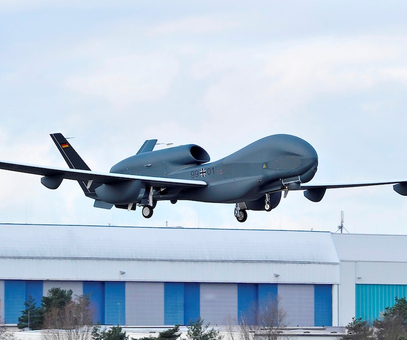 After having canceled the EuroHawk Unmanned Aircraft System in 2014 because it could not fly in unsegregated airspace, Germany has now decided to buy four modified Triton naval variants for $2.5 billion (Airbus DS photo)
