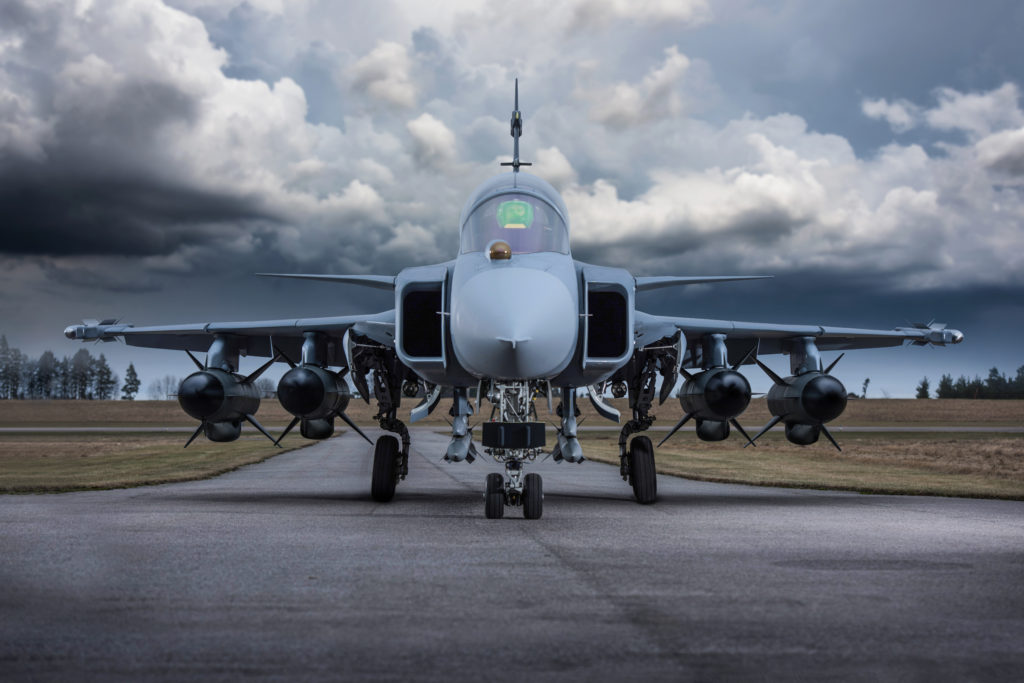The next-generation RBS-15 anti-ship missile, fitted with a new active radar seeker, is being developed for ground-, ship- and air-launched operations; the Swedish Gripen fighter can carry up to four such missiles (Saab photo)