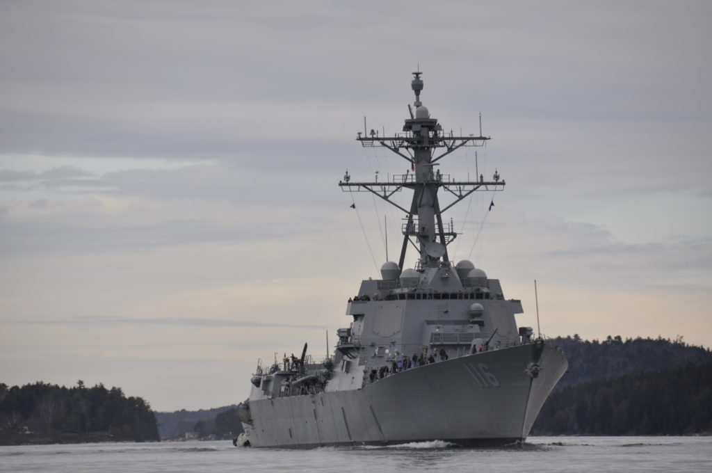 The future USS Thomas Hudner (DDG 116) commences builder's trials. Trials completed March 31 after the ship spent four days underway off the coast of Maine (Photo by U.S. Navy)