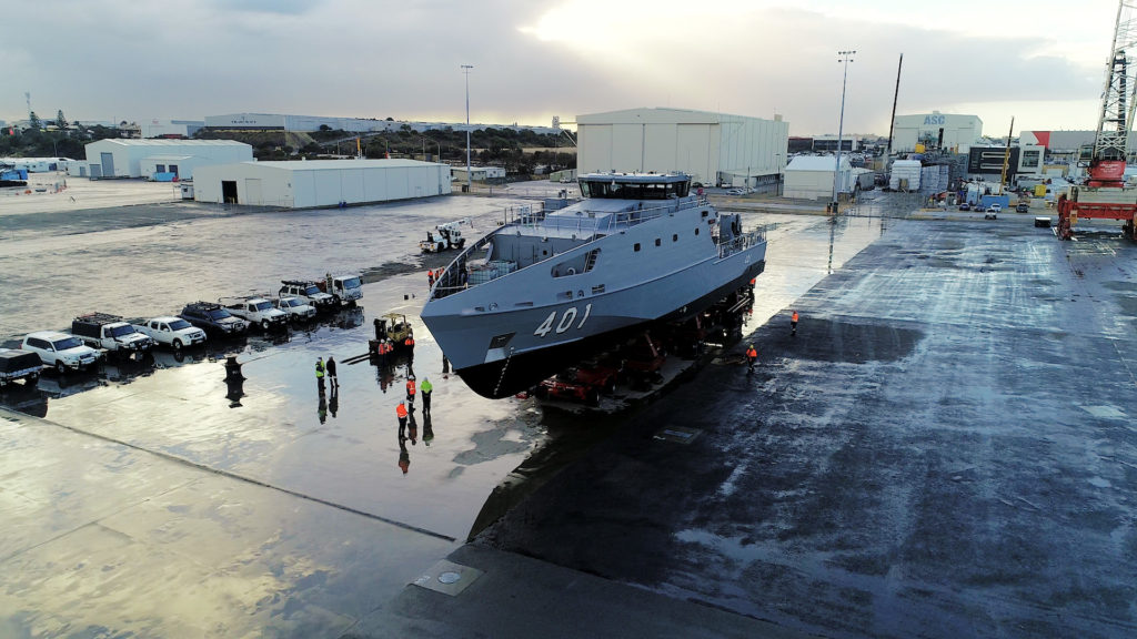 The first of a new class of 21 Pacific Patrol Boats that Australia is building to reinforce its Pacific allies was launched yesterday. This program is the first element of Australia's financially-ambitious $90-billion shipbuilding plan (AUS DoD photo)
