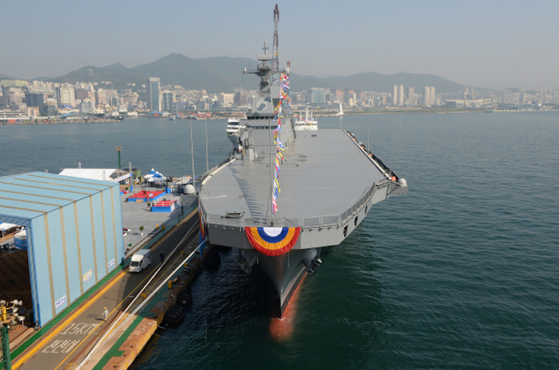 This photo provided by the Defense Acquisition Program Administration shows South Korea's new 14,500-ton amphibious assault ship, the Marado